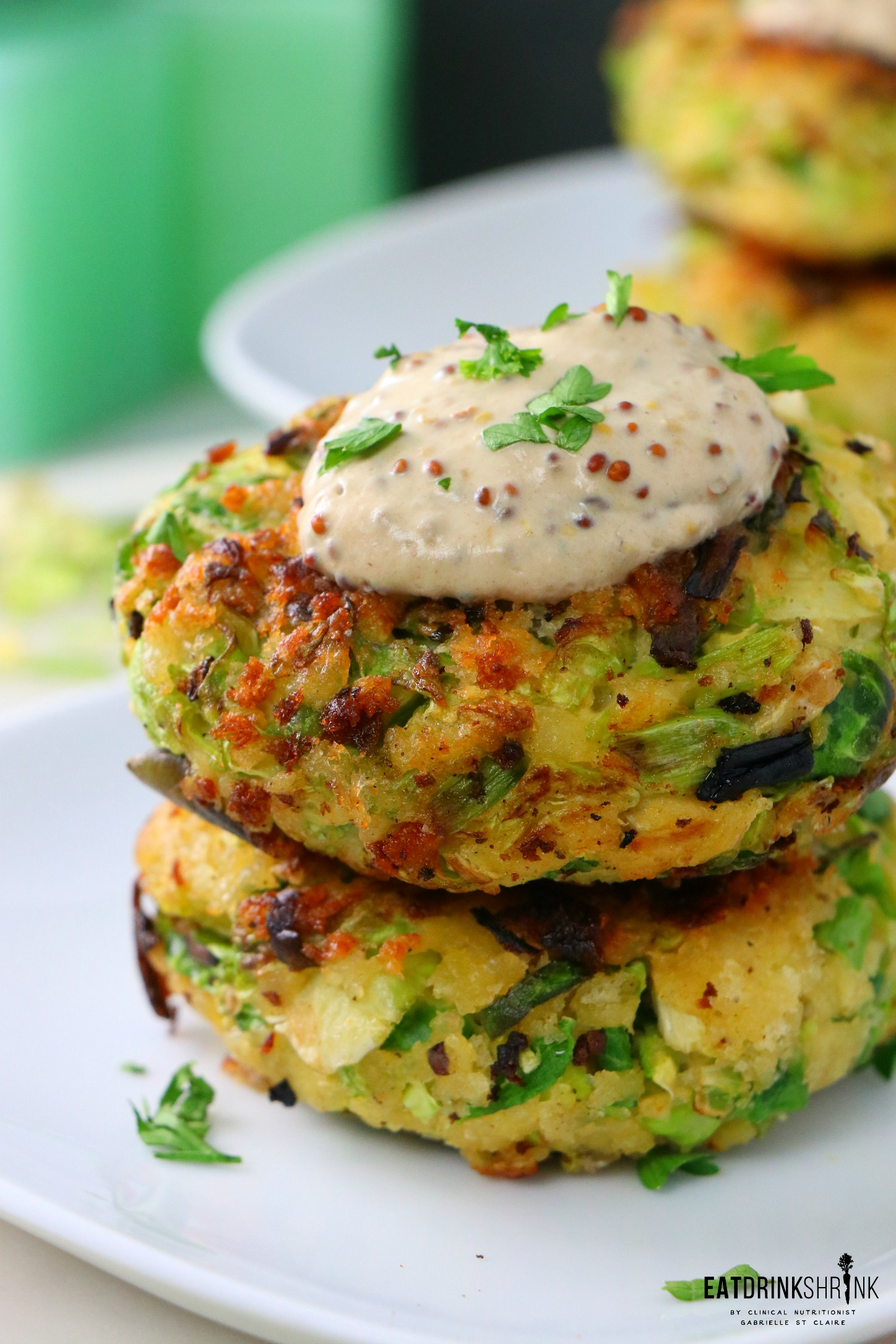 Vegan Brussels Sprout Fritters with dijon aioli