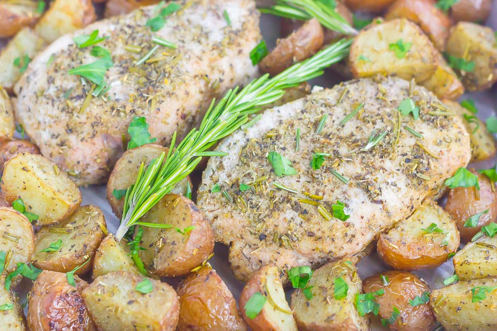Sheet Pan Rosemary Herb Pork Chops with Roasted Potatoes