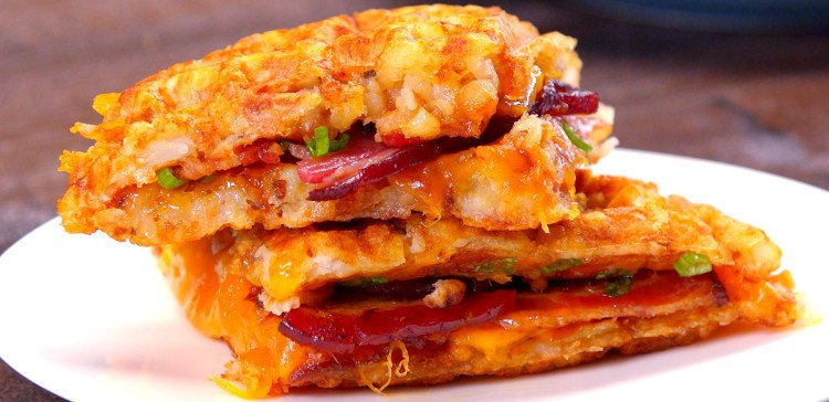 Tater Tot Grilled Cheese & Bacon Waffle Sandwich Tater Tot Grilled Cheese