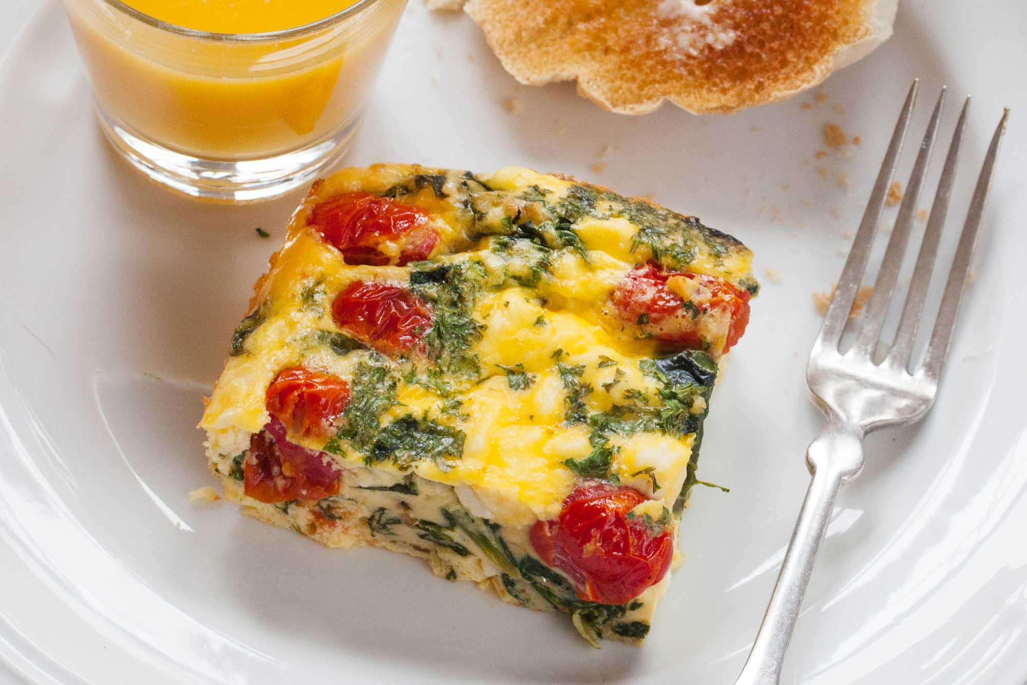 Make-ahead Frittata Squares with Spinach, Tomatoes, and Feta