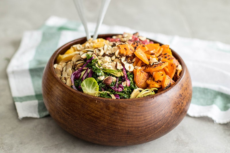 Vibrant Winter Kale Brussels Sprout Salad