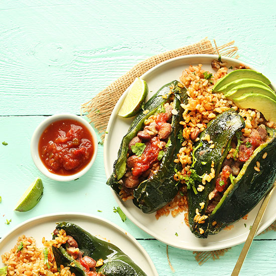 Vegan Stuffed Poblano Peppers