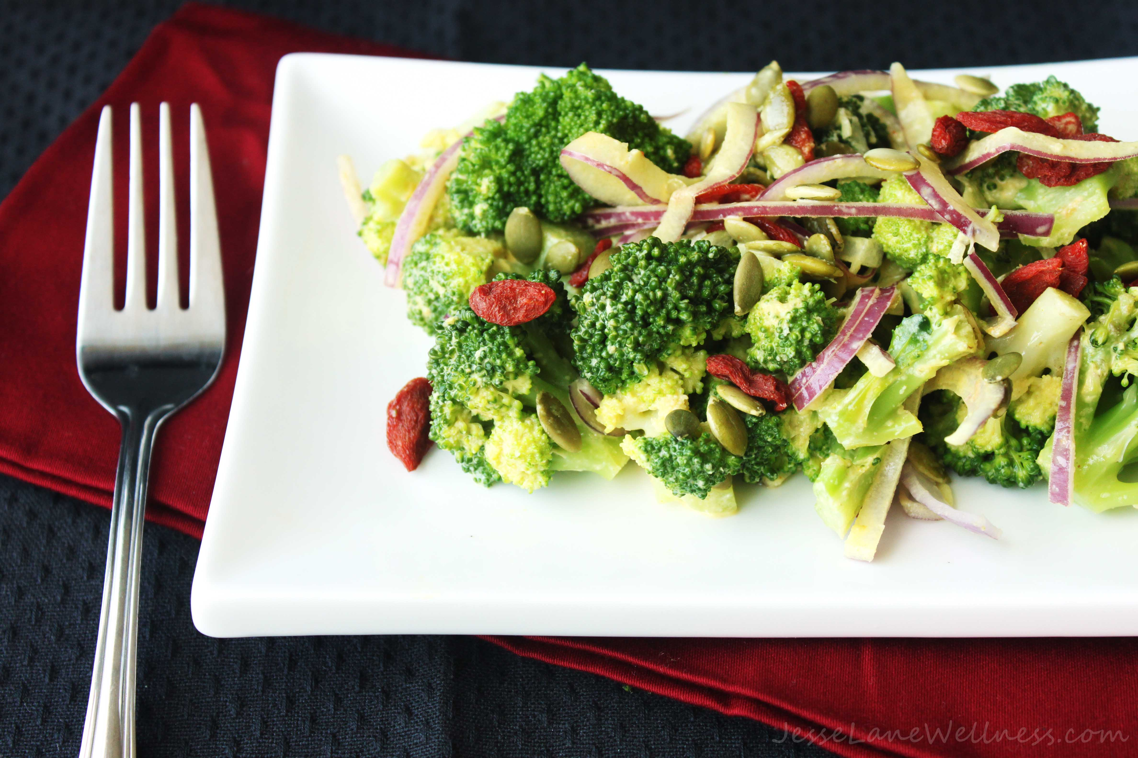 Creamy Broccoli Salad Recipe (vegan, gluten free, paleo)