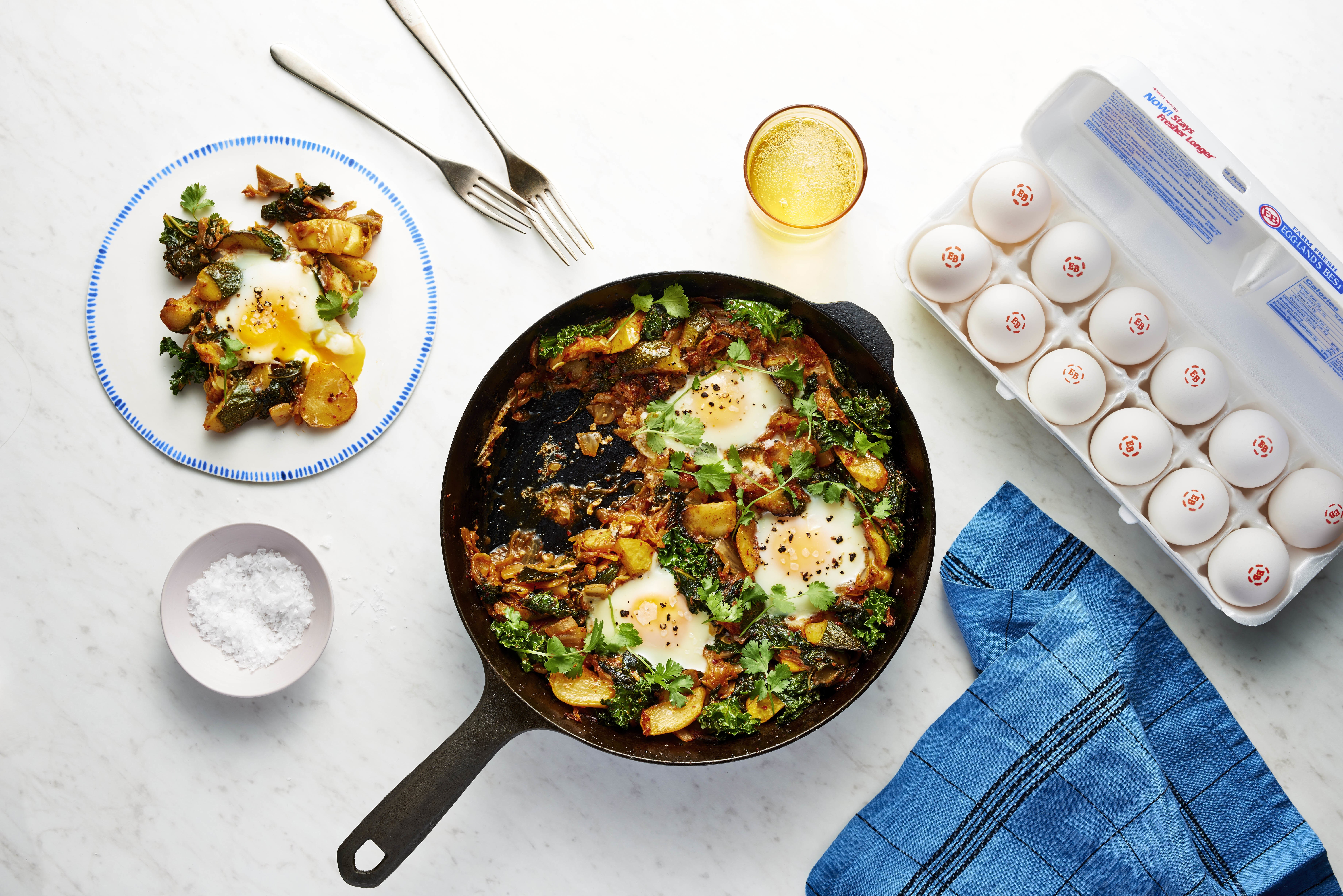 Kimchi and Summer Squash Baked Eggs