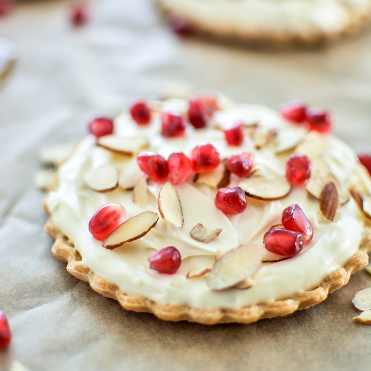 Holiday Mascarpone Tarts with Almonds and Pomegranate