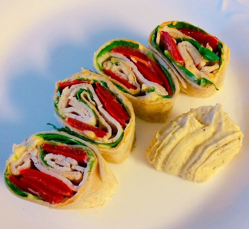 Roasted Red Pepper & Turkey Pinwheel Wraps