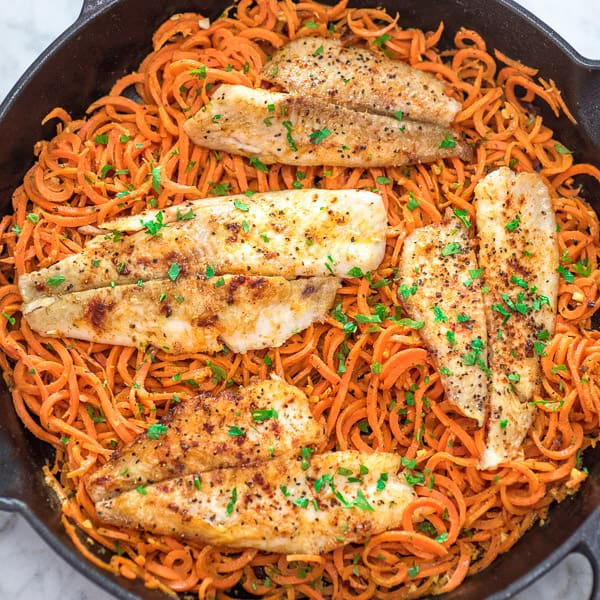 FLOUNDER WITH CARROT NOODLES