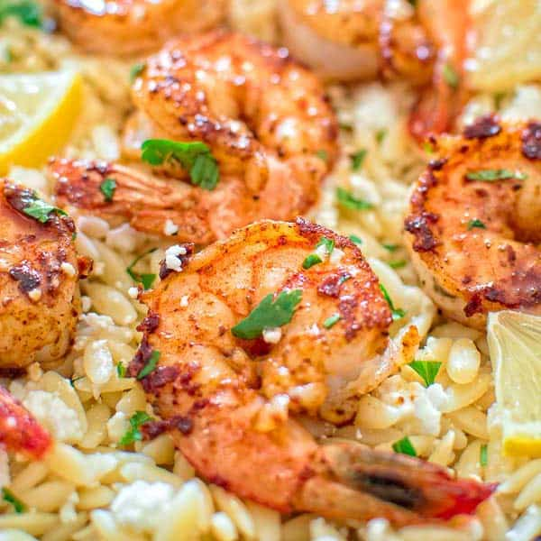 Easy Orzo with Shrimp and Feta