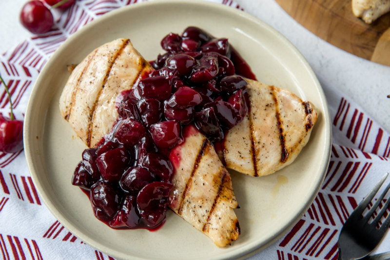 Grilled Honey Chicken with Cherry Sauce