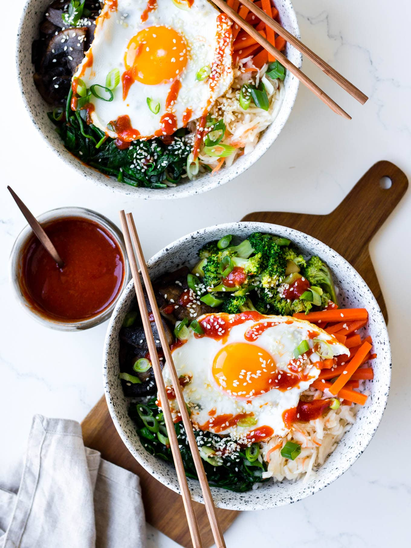 Vegetarian Bibimbap Bowls with Winter Veg