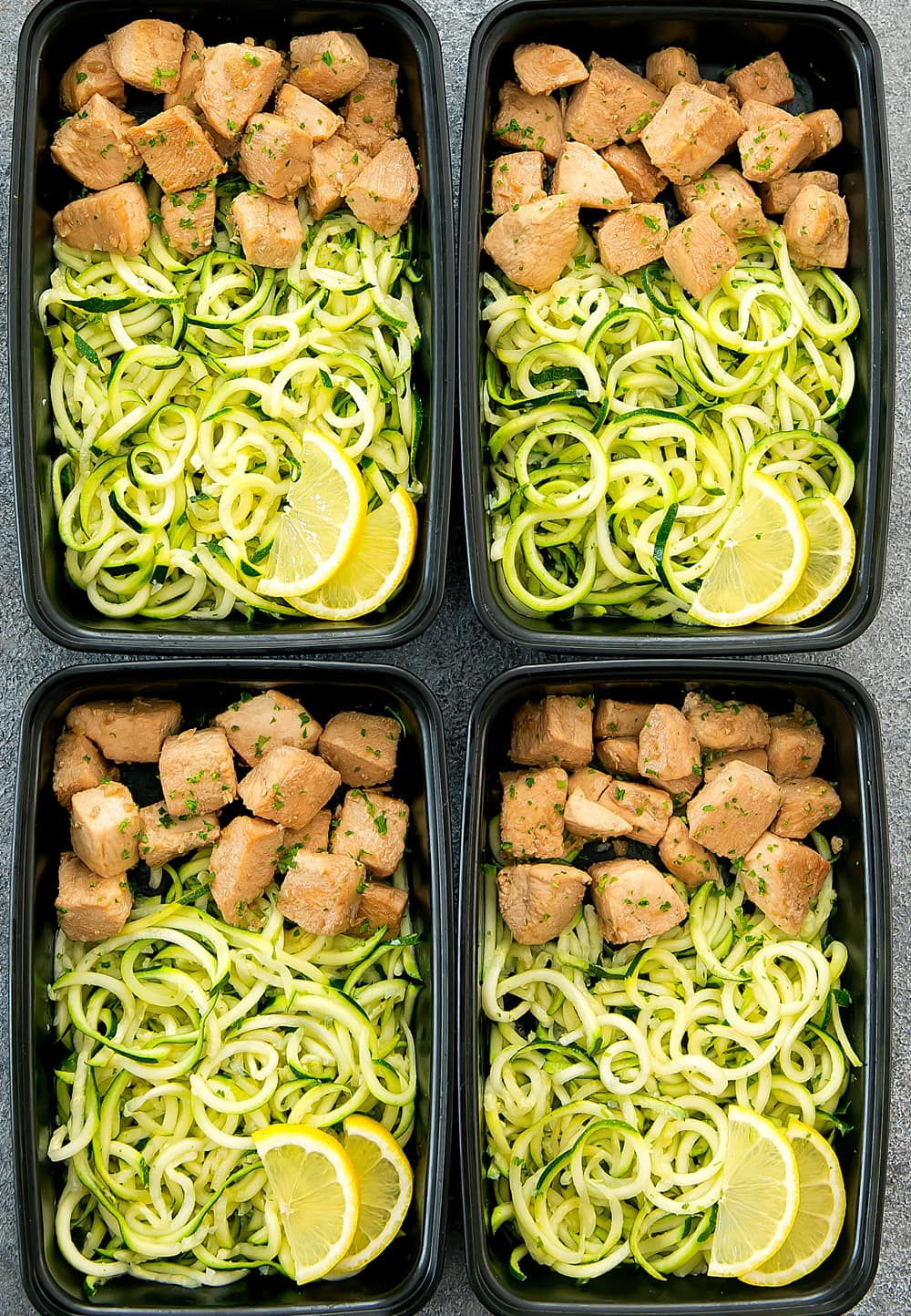 Lemon Garlic Chicken with Zucchini Noodles Meal Prep