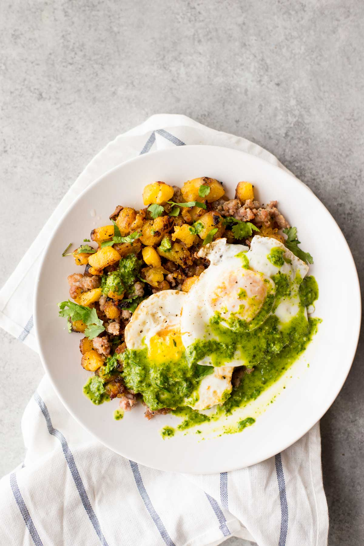 10 minute Breakfast Hash with Plantains + Chimichurri