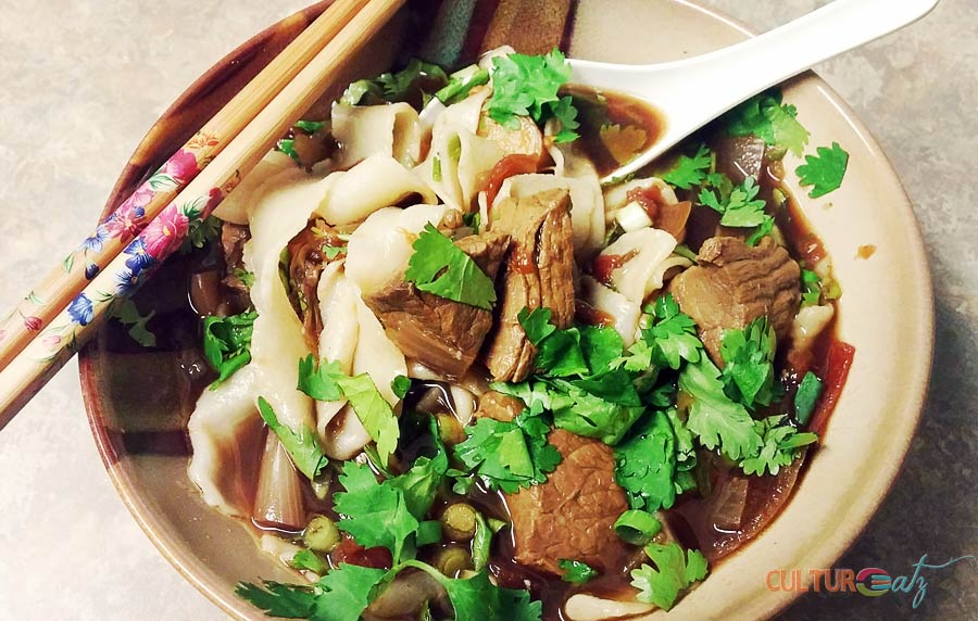 Spicy Beef Noodle Soup with Chinese Hand Pulled noodles