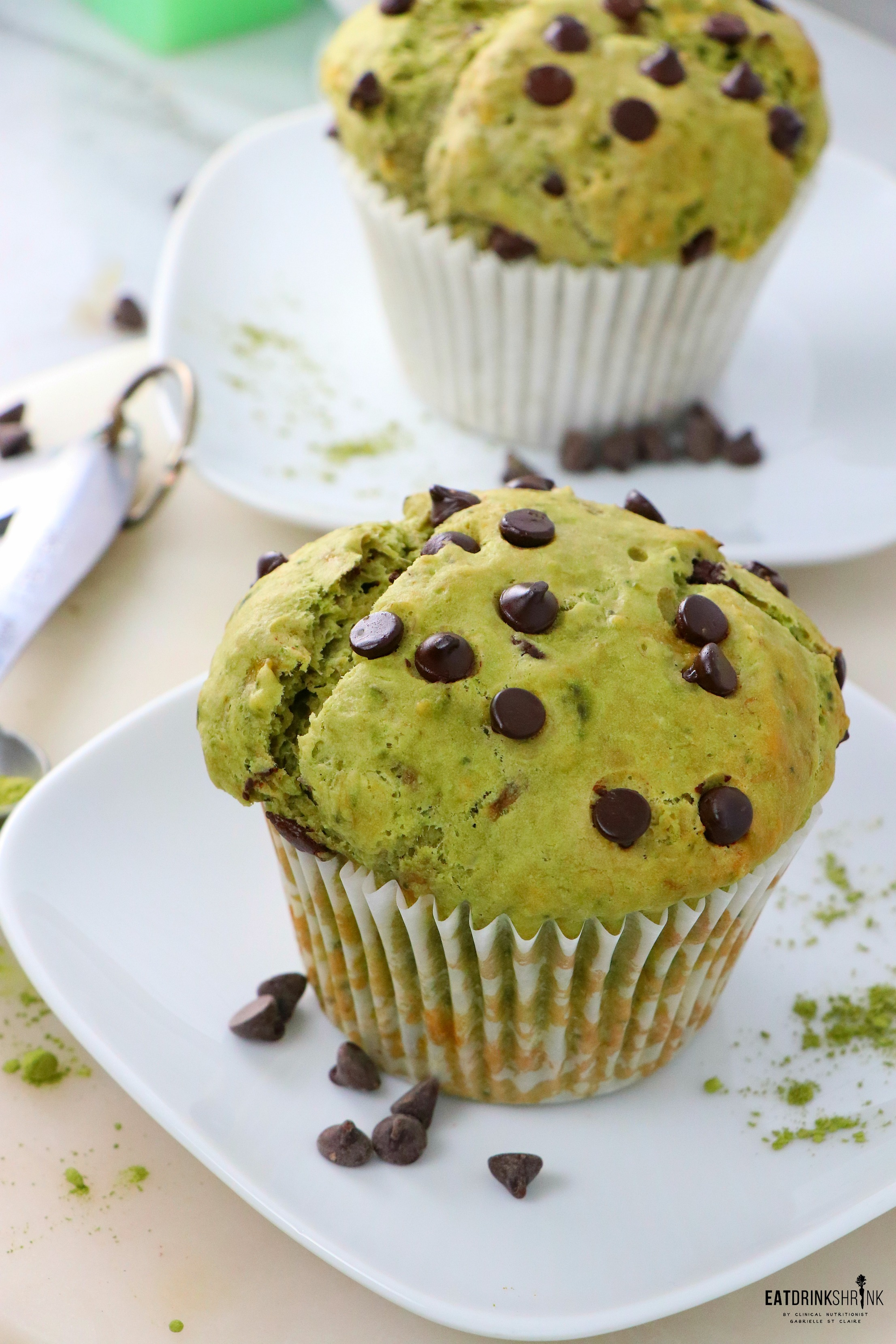 Matcha Chocolate Chip Muffins