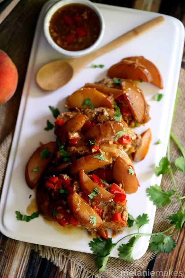 Slow Cooker Peach and Pepper Pork Chops