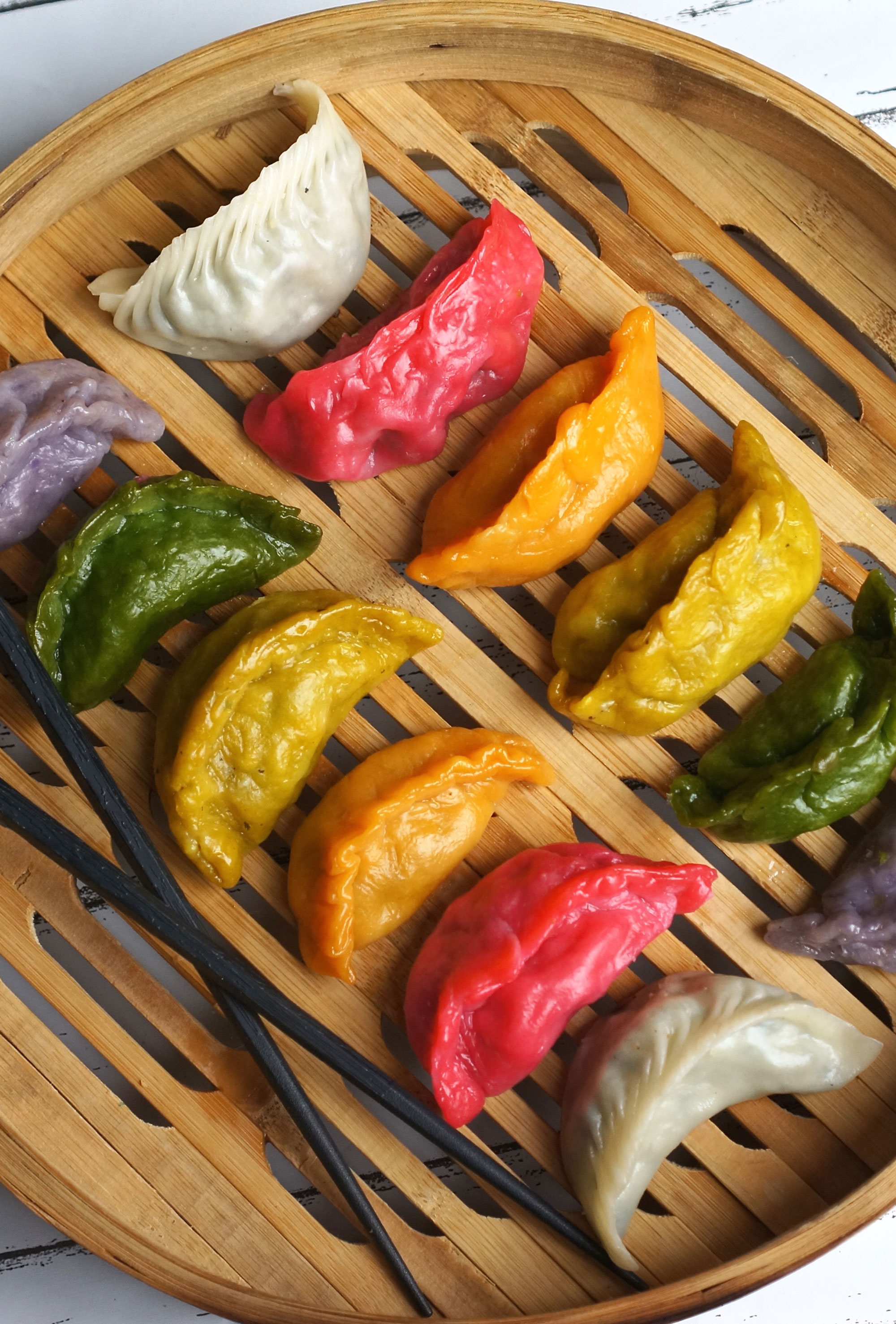 Rainbow + Black and White Dumplings {Vegan}