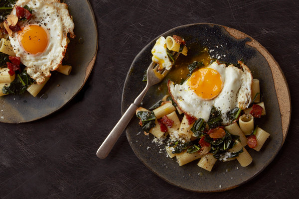 Pasta With Wilted Greens, Bacon and Fried Egg