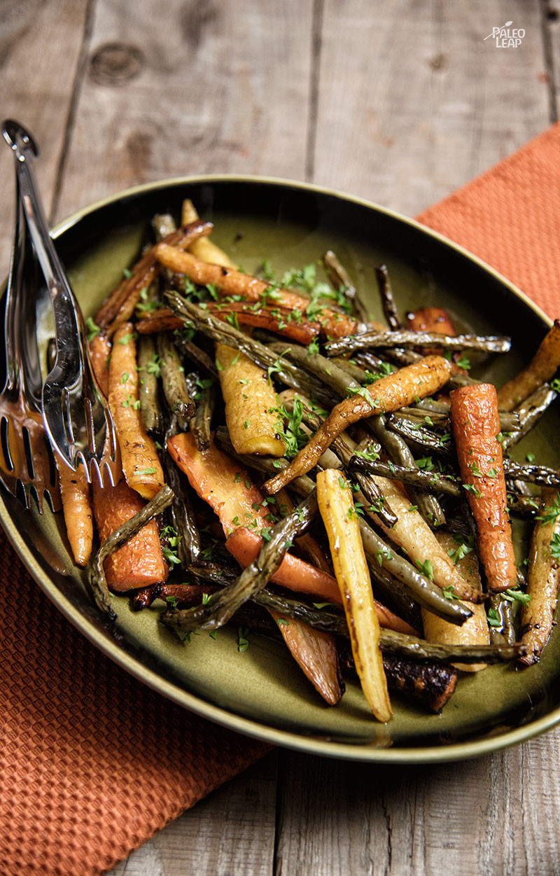 Balsamic Roasted Carrots and Green Beans Recipe