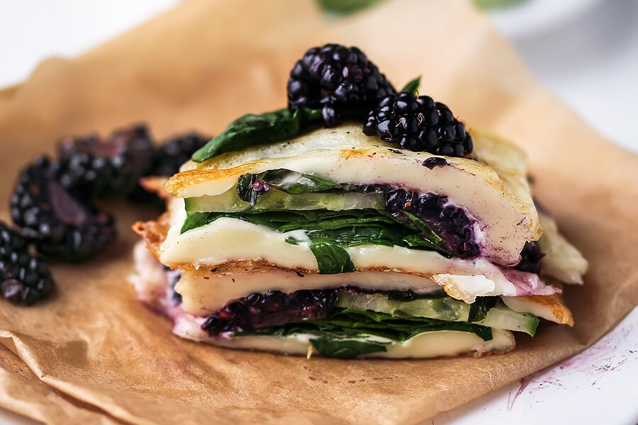 Blackberry, Basil and Spinach Pressed Halloumi