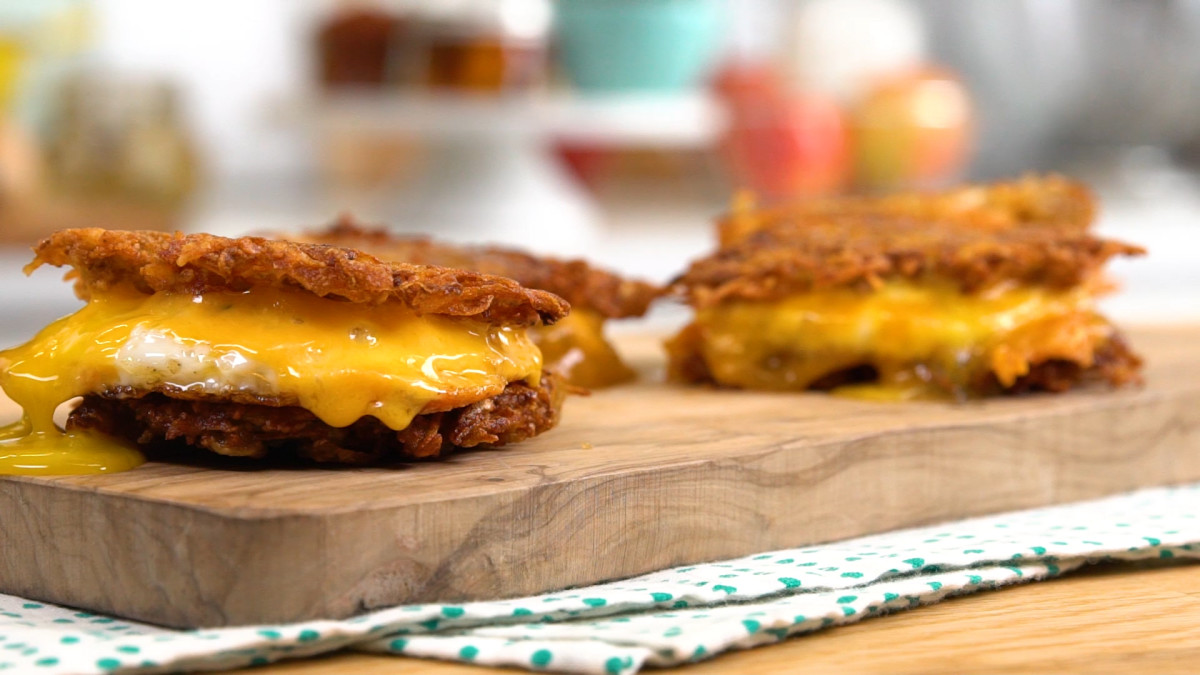 Fried Egg and Cheese Potato Pancake Sliders: As Seen on the Today Show