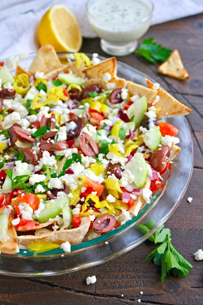 Greek Nachos with Tzatziki Sauce