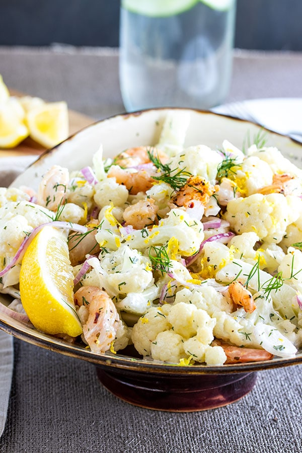 Cauliflower Salad with Shrimp and Dill