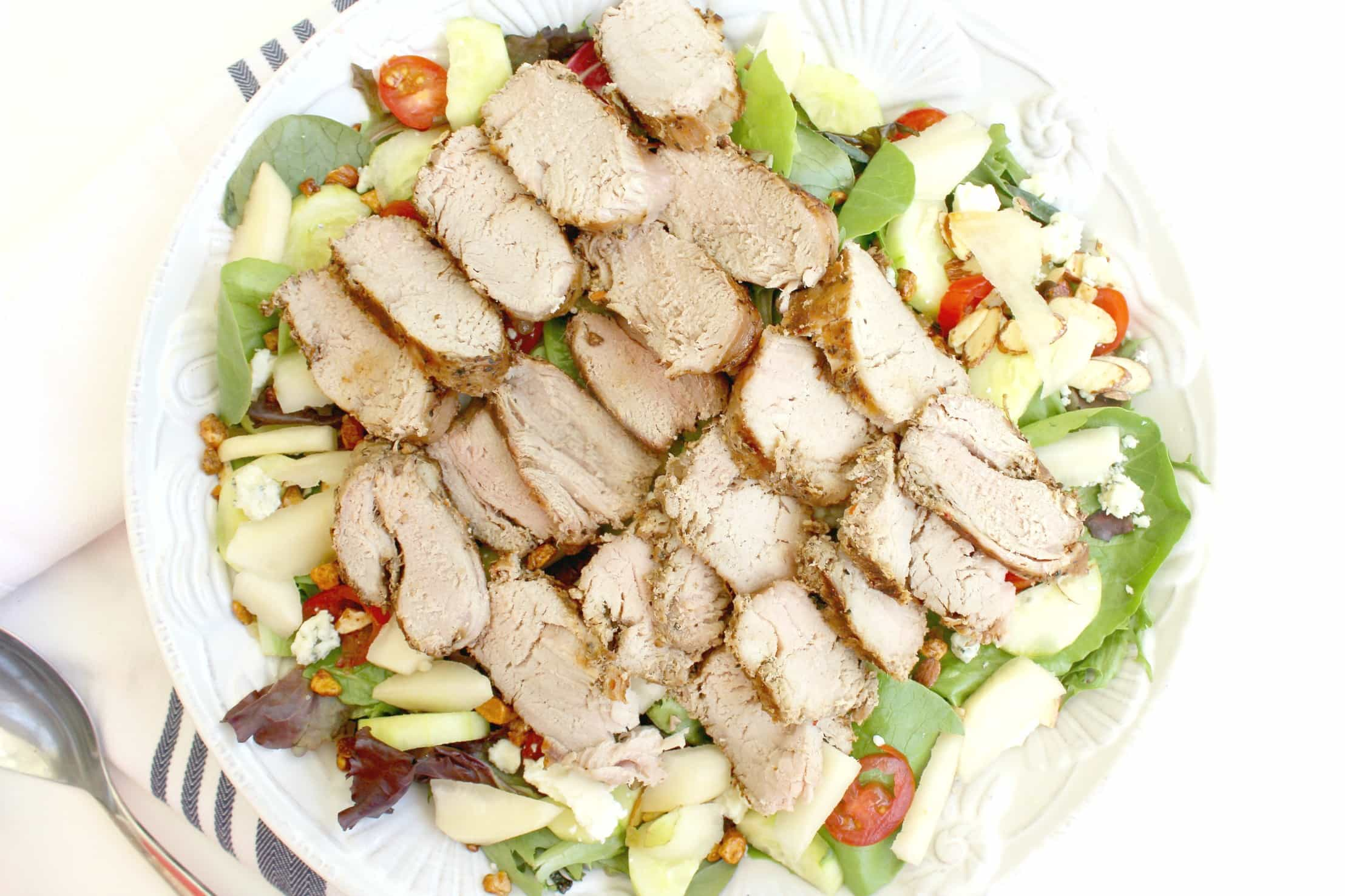 Roasted Garlic & Cracked Black Pepper Pork Loin Gorgonzola Salad