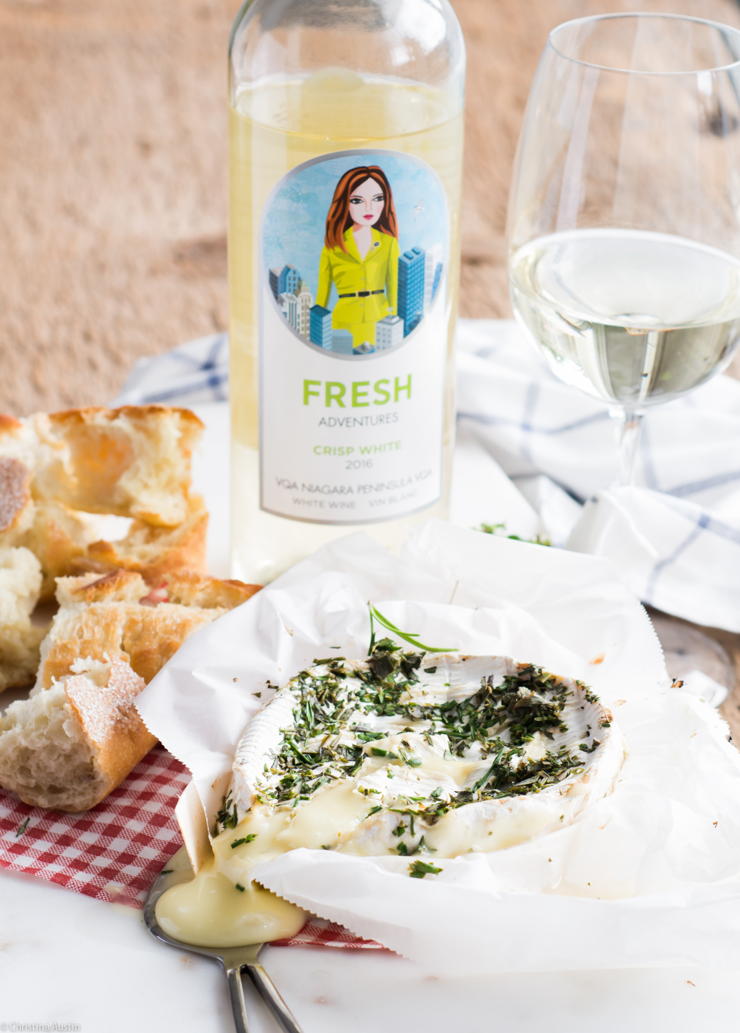 Camembert Baked with Herbs & White Wine