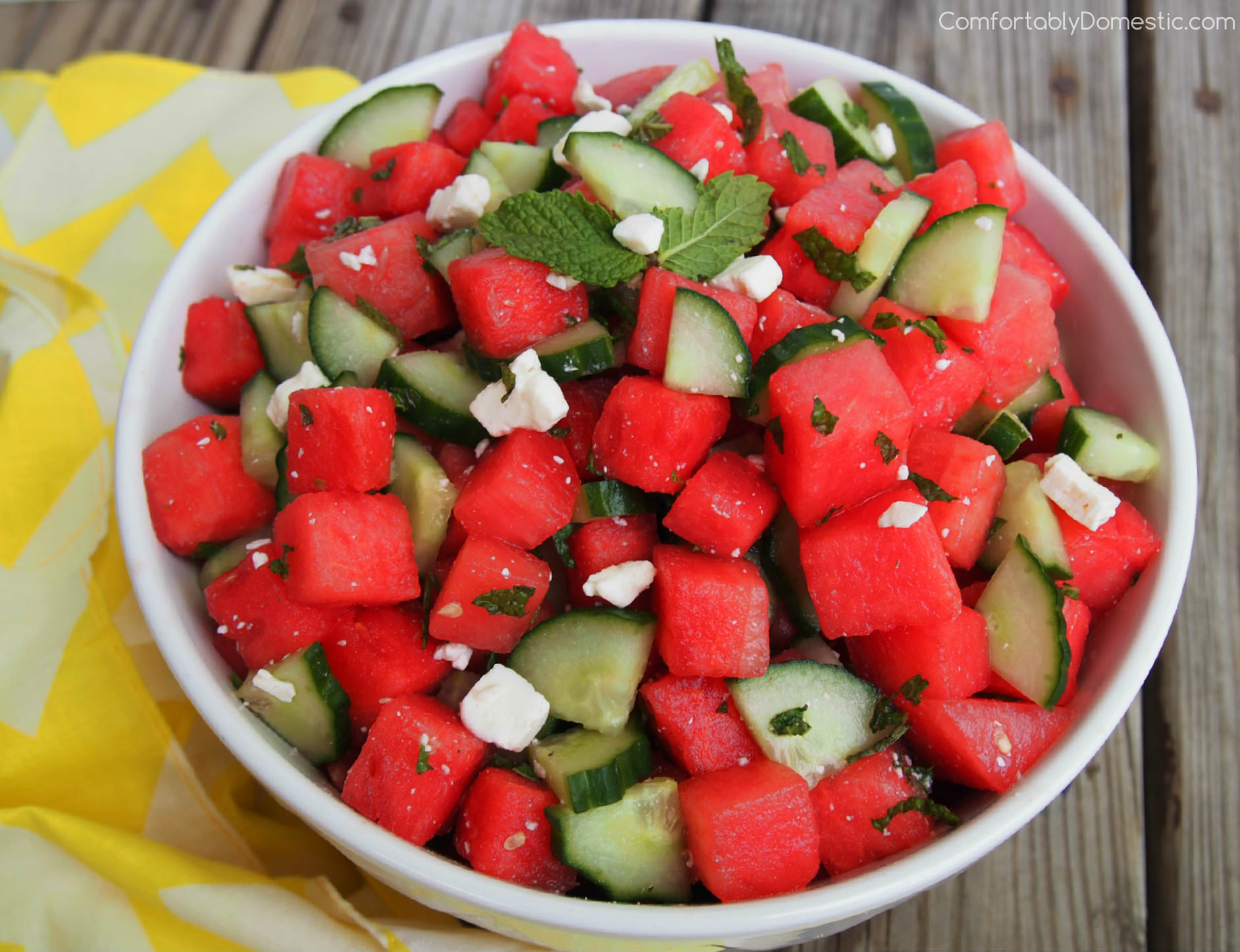 Watermelon Cucumber Salad with Feta, Lime, and Mint
