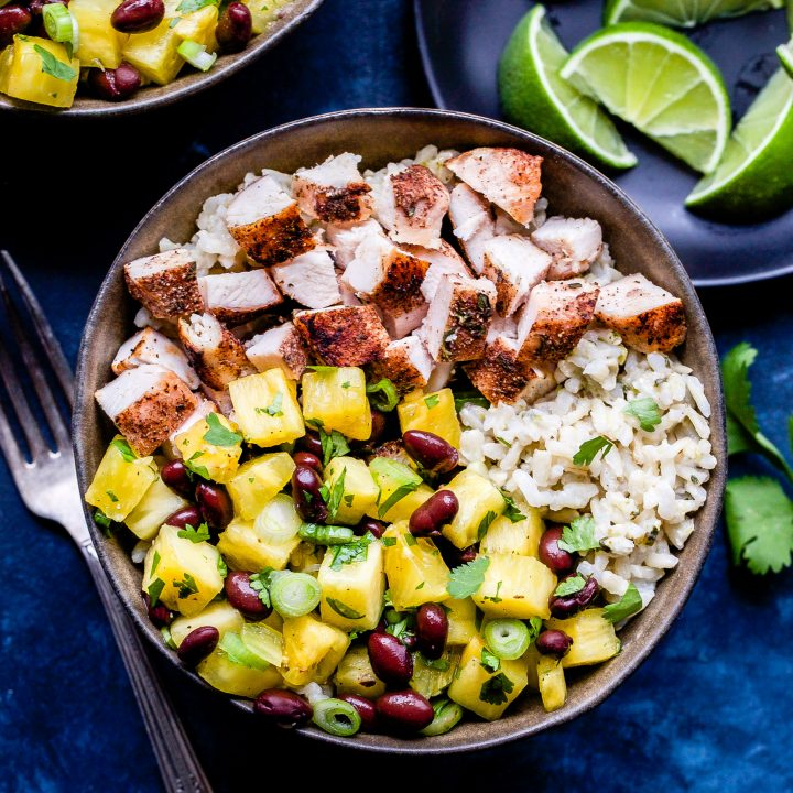 Jerk Chicken Bowls with Pineapple Black Bean Salsa