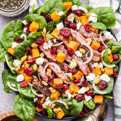 Steak Salad with Sweet Potatoes, Feta and Cranberries