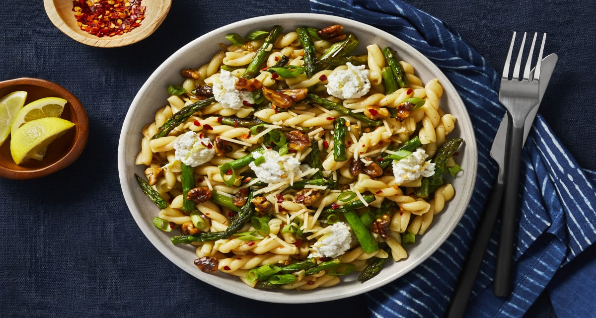 Brown Butter Gemelli with Asparagus, Walnuts, and Lemony Ricotta