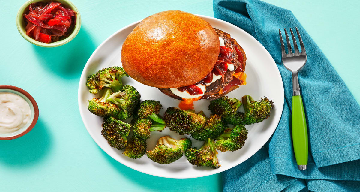 Juicy Lucy Burgers with Tomato Onion Jam and Roasted Broccoli