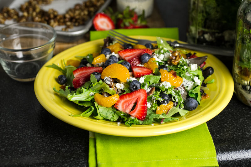Summer Salad with Poppy Seed Dressing and Fruit