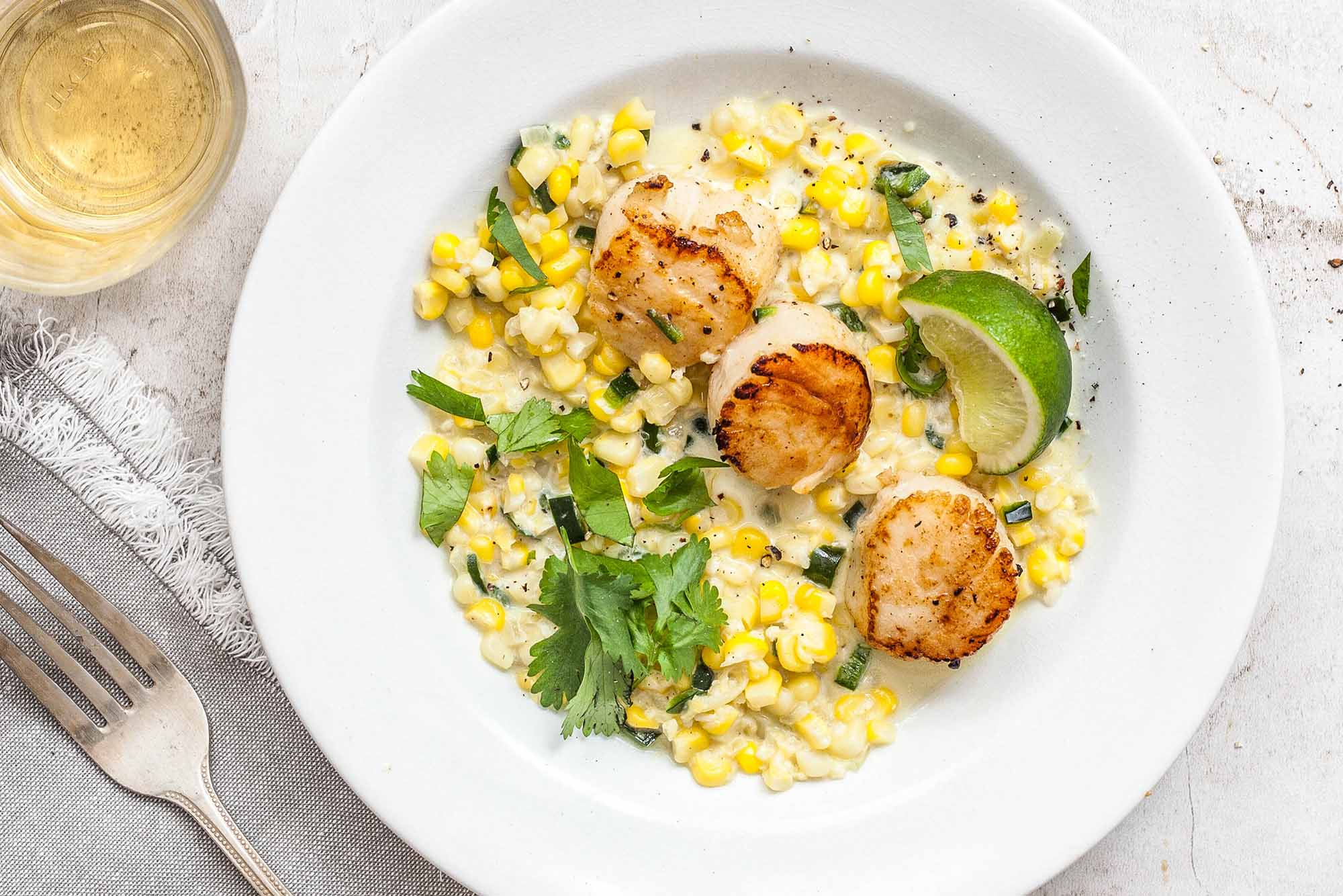 Pan Seared Scallops with Sweet Corn and Chiles