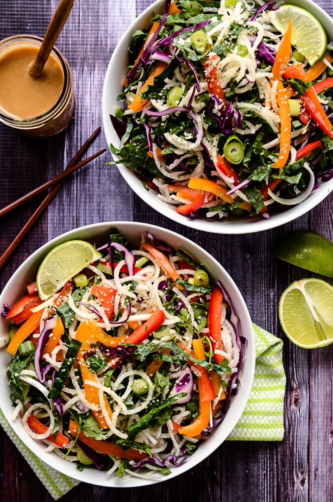 Colorful Jicama Noodle Salad with Creamy Tahini-Ginger Dressing