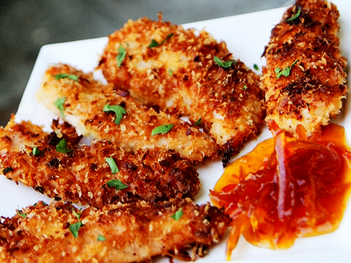 Coconut Chicken Tenders with Honey Marmalade Dipping Sauce Recipe - (4.5/5)