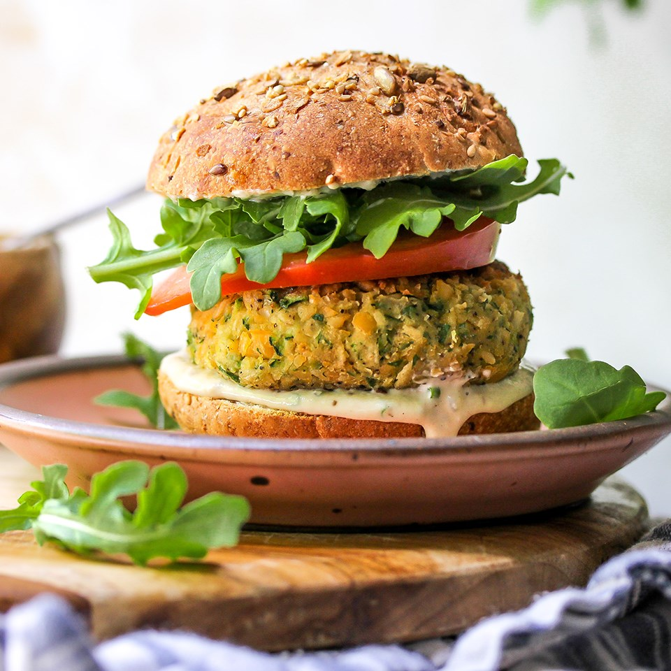 Zucchini-Chickpea Veggie Burgers with Tahini-Ranch Sauce