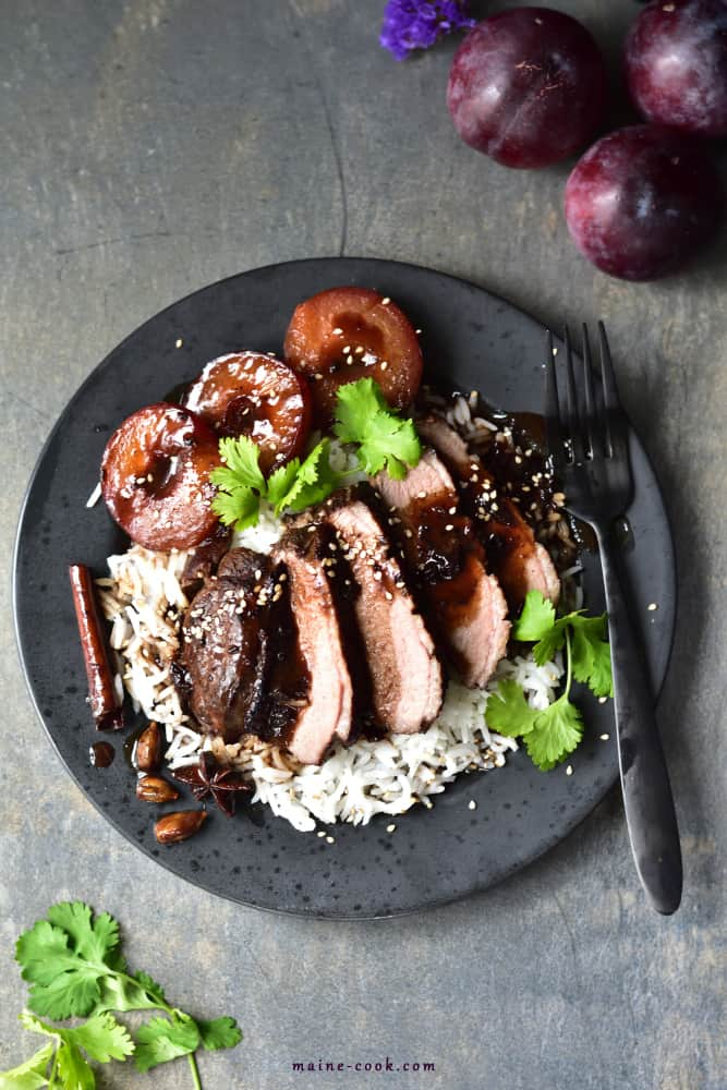 Slow-roasted duck breast with plum sauce