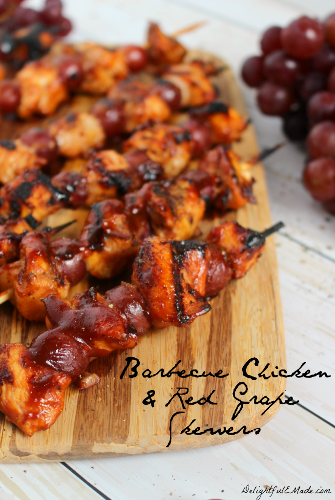 Barbecue Chicken and Red Grape Skewers