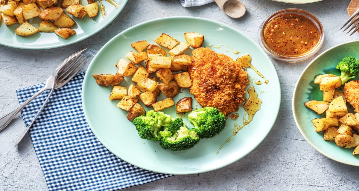 Hot Honey Chicken with Barbecue-Roasted Potatoes and Buttery Broccoli