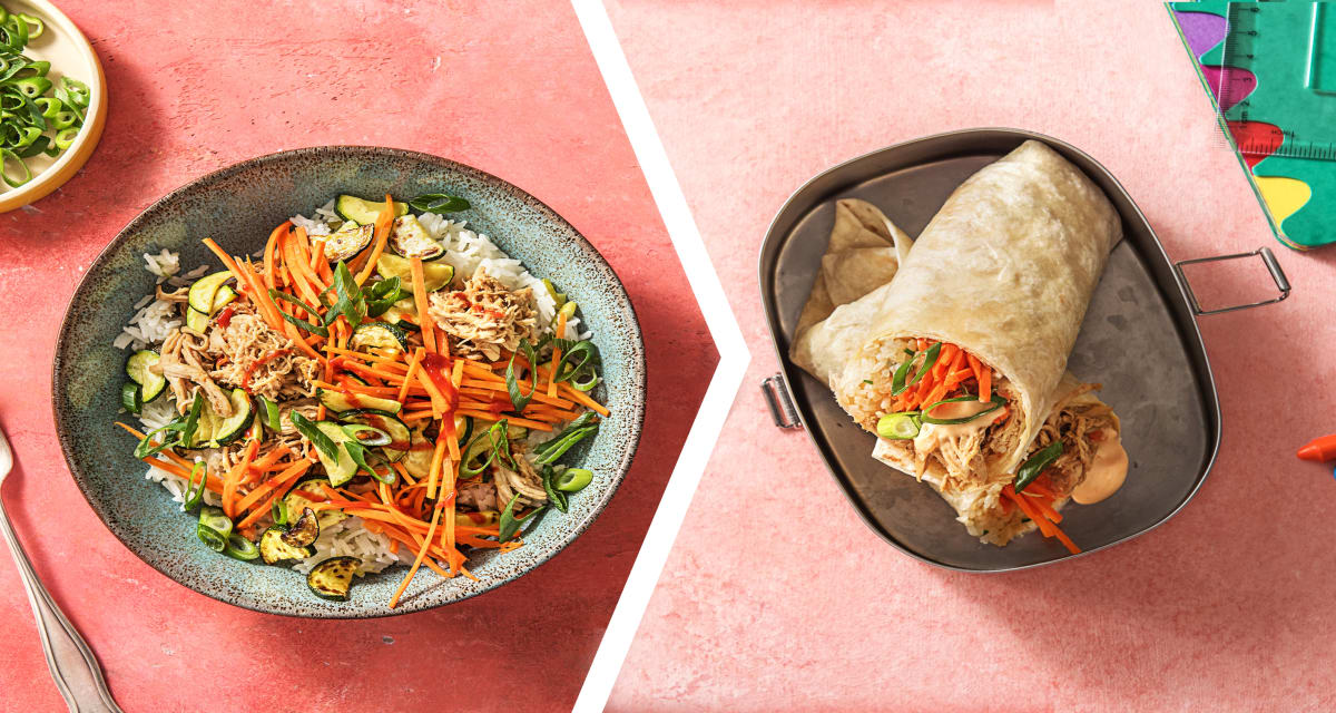 Chicken Bibimbap for Dinner with a Korean Burrito for Lunch
