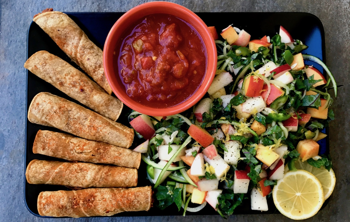 Baked Flautas With Cucumber Nectarine Salad — Plant-Strong by Engine 2