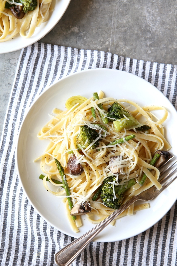 Roasted Vegetable Asiago Fettuccine Alfredo