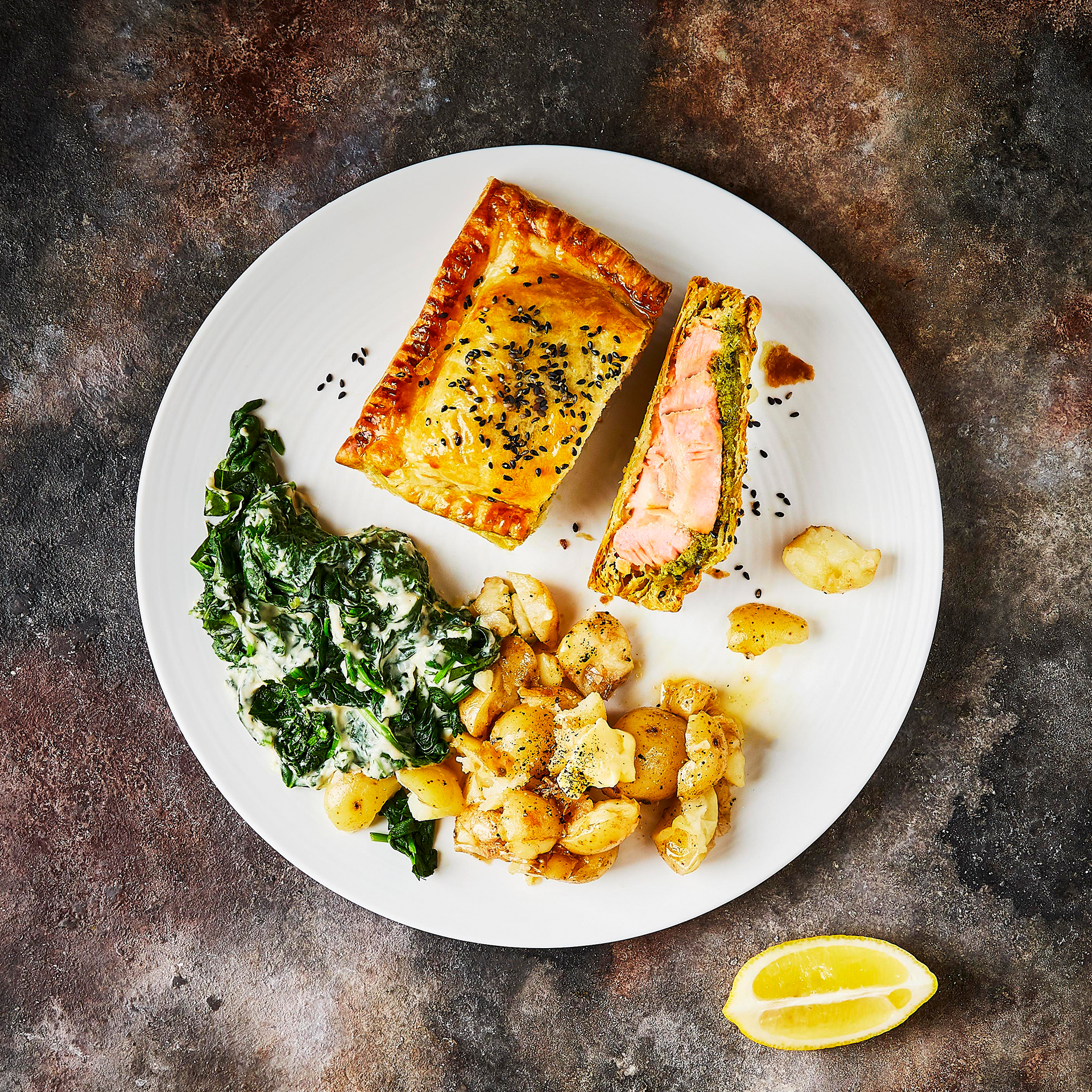Pesto Salmon En Croûte With Crushed Potatoes & Creamed Spinach