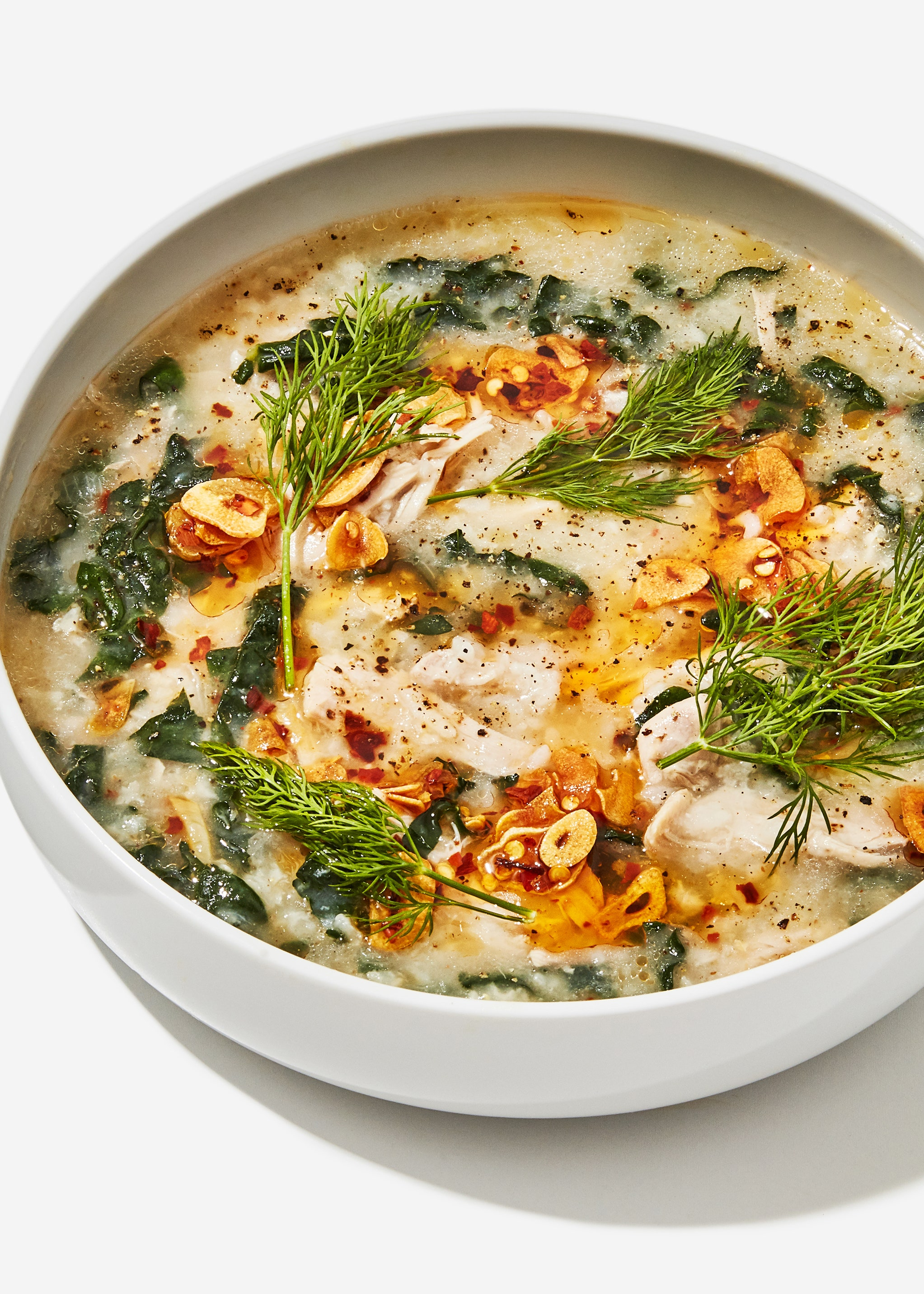 Chicken and Rice Soup with Garlicky Chile Oil