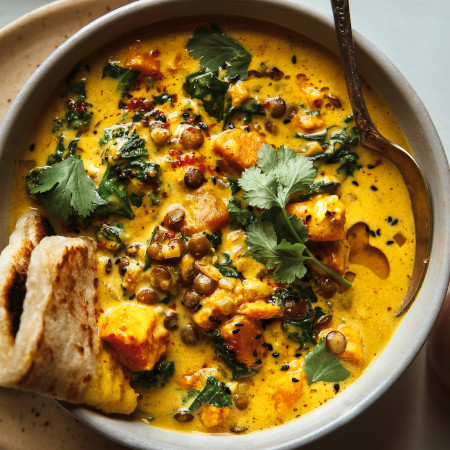 Ginger Sweet Potato and Coconut Milk Stew with Lentils and Kale