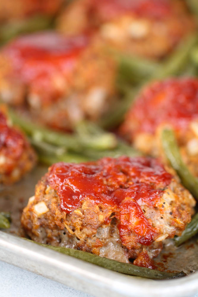 Sheet Pan Meatloaf and Green Beans