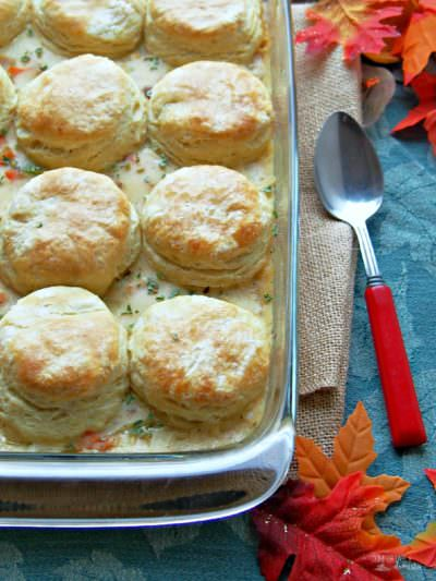 Turkey and Biscuit Casserole is perfect for leftover turkey (or chicken)!