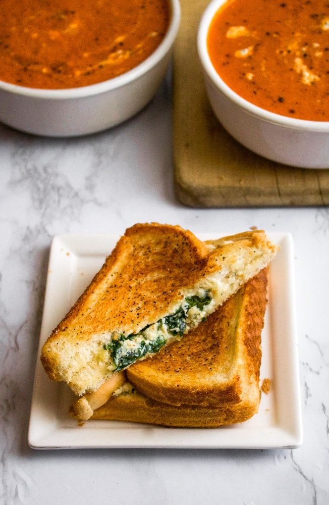Vegan Feta Grilled Cheese with Spinach